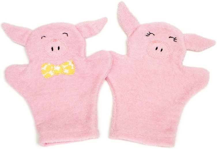 Playful Piglet Bath Mitts