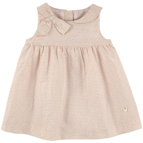 Tartine et Chocolat - Dotted Taffeta Party Dress Pastel Pink and Gold